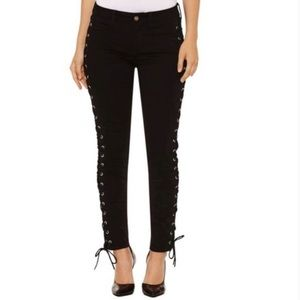 Bold Elements Curvy Skinny black lace up jeans